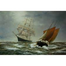 chase between pirate ships maritime hand painted oil painting for on overarts com