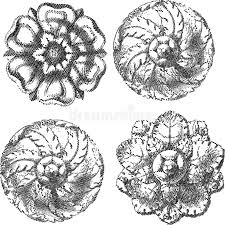 four engraved circle ornaments stock photography image 5918382