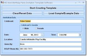 ms word birthday party invitation template software shareware