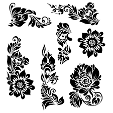 black ornaments floral vector illustration vector floral vector