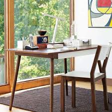 furniture minimalist wooden desk and wood chair with big window