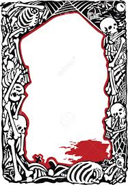halloween border black and white frame with bones skulls and pool of blood royalty free cliparts