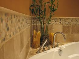 Bathroom Tile Border Ideas Colors Bathroom Design With Pebble Stone Tile Island Stone Pebble