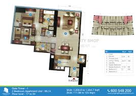 75 Sqm To Sqft Floor Plan Of Gate Tower 1 Al Reem Island