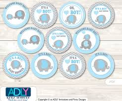 it s a boy baby shower baby shower grey blue elephant cupcake toppers printable file for