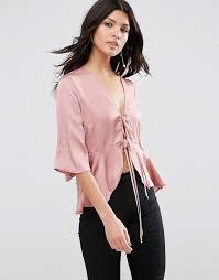 tie front blouse asos asos satin drape tie front blouse