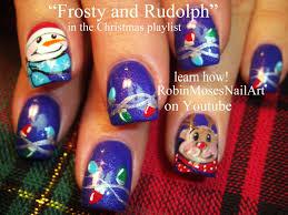 diy christmas nails frosty rudolph lights on blue xmas