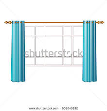window turquoise curtains isolated on white stock vector 502043632