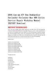 2006 can am atv brp bombardier outlander outlander max 400 series ser u2026