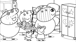 peppa pig cupboard for toys coloring pages for kids with colored