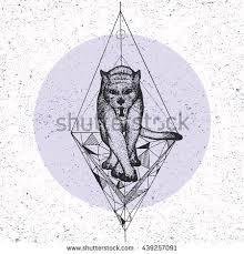 handdrawn tribal illustration panther dot art stock vector