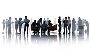 silhouettes of business with different activities stock