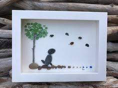 sea glass home decor original sea glass art by lieu pebble art driftwood art beach