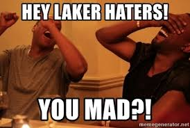Laker Hater Memes - hey laker haters you mad kanye west jay z laughing meme generator