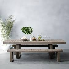 portside expandable dining table weathered gray west elm