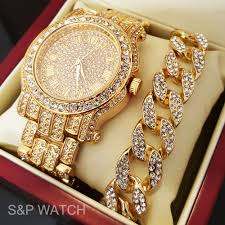 diamond necklace gift images Men hip hop iced out gold tone simulated diamond watch cuban jpg