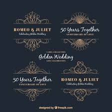 decorative ornaments of golden anniversary vector free