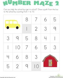 number maze bus worksheet education