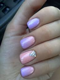 purple u0026 rose ombre nail art with rhinestones one1lady com