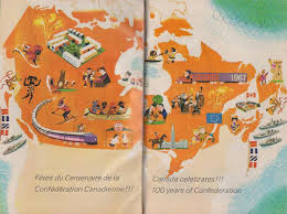 vintage cartoon map of canada celebrating 100 years of
