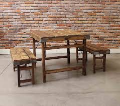 farmhouse small wood planks dining table with benches seating
