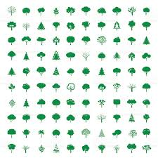 tree symbol collection of green trees vector symbol and icon stock vector art