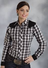 roper women u0027s black plaid fancy yoke snap ls western shirt
