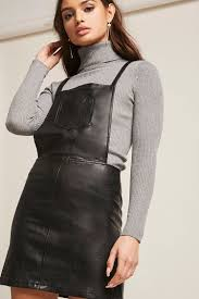 faux leather overall dress forever 21 2000261206