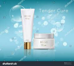 beautiful cosmetic templates ads realistic white stock vector