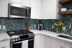 white kitchen cabinets with hexagon backsplash kitchen accent blue hexagon tile backsplash midcentury