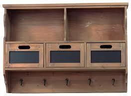 rustic country style wood wall shelf 3 drawer coat hanger rack