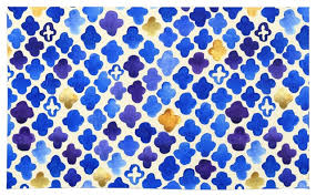 Gold Rugs Contemporary Society6 Rustic Watercolor Moroccan In Royal Blue And Gold Rug