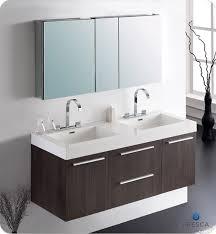 fresca opulento gray oak modern double sink bathroom vanity w