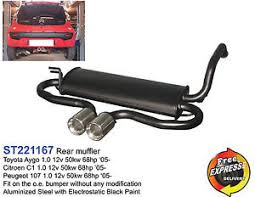 performance rear exhaust muffler for toyota aygo citroen c1
