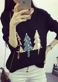 black sparkly sequin christmas tree print beading cute slim