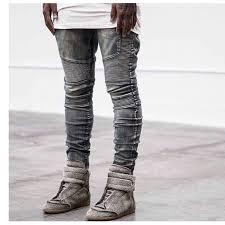 Mens Destroyed Skinny Jeans Aliexpress Com Buy High Quality Ripped Denim Blue Destroyed Men