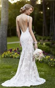 fitted wedding dresses fitted mermaid backless chagne satin ivory lace wedding dress