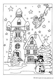 houses color print adults christmas village coloring