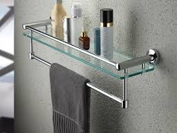 Bathroom Glass Shelves With Towel Bar Satin Nickel Glass Shelf With Towel Bar Walmart Regarding