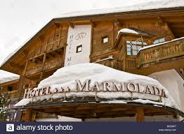 hotel marmolada corvara in badia bolzano italy stock photo