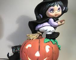 Lighted Ceramic Halloween Decorations halloween ceramic etsy