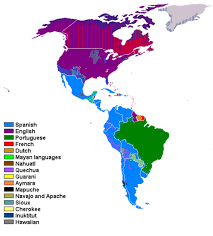 map in language of language distribution in the americas