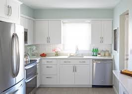 lowes arcadia cabinets with soothing blue walls transitional