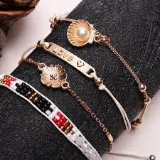 bracelet sets bohemian gold white cuff bracelet sets pearl shell tassels