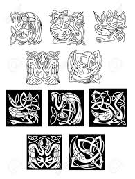 stork and heron birds in celtic ornaments or patterns in black
