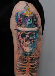 colorful upper sleeve skull tattoo idea golfian com