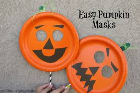 pumpkin mask easy paper plate pumpkin mask craft blissful