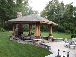 Gazebo Fire Pit Ideas by Pavilion Built Into Columns On Paver Patio With Sitting Walls And