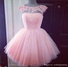 2016 cute short formal prom dresses pink high neck see through