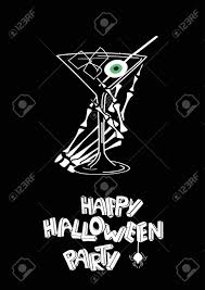 martini glass logo minimalist happy halloween party poster with skeleton hand holding